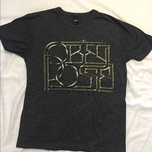 OBEY POSSE T-Shirt Medium Gray Black Gold